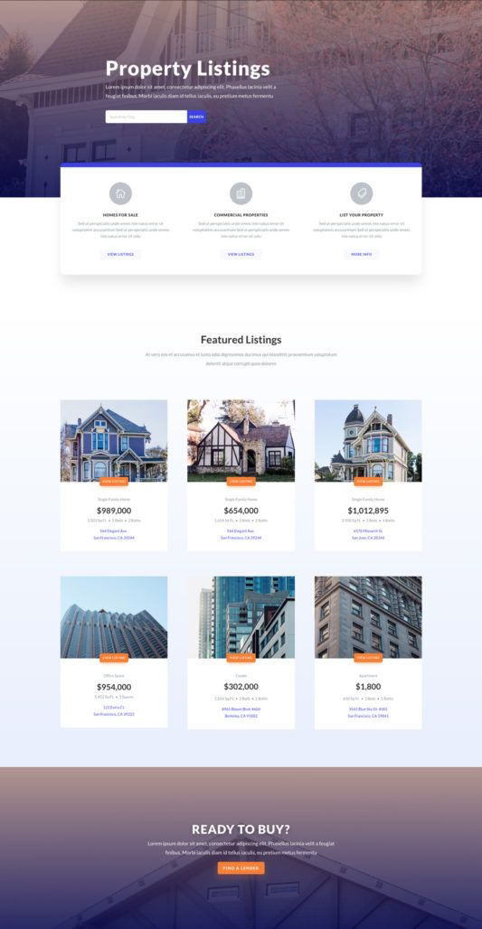 Real Estate Listings Page Real Estate Website Design Real Estate Web Design Web Design Inspiration Portfolio