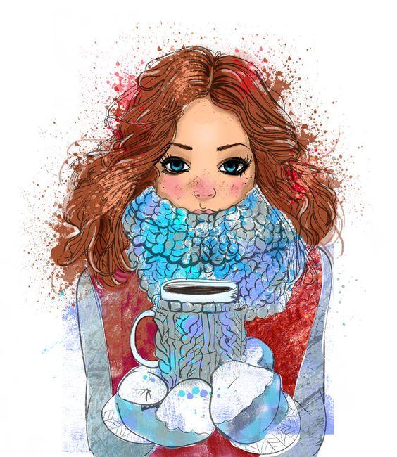 Muchacha linda del invierno con la taza de caf ilustracin del vector