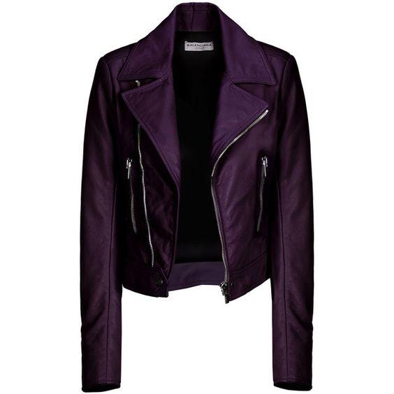 Balenciaga New Classic Biker Jacket ($1,369) ❤ liked on Polyvore featuring outerwear, jackets, coats, balenciaga, belted jacket, biker jacket, purple motorcycle jacket и lambskin jacket