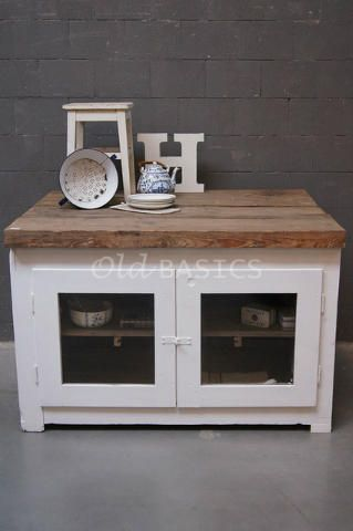 Stoer oud brocante dressoir keukeneiland te koop bij old for Grote spiegels te koop