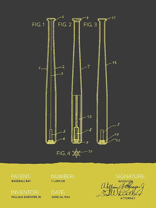 Baseball Bat Patent Drawing From 1924 In Gray Yellow Color Vintagepatent Agedpixel Patentprints Patentart Sports Drawings Baseball Bat Sport Poster Design