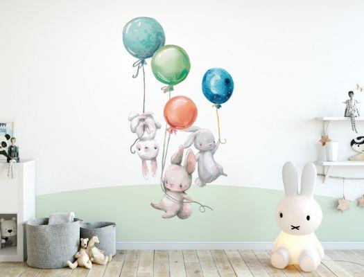 Wandtattoo Kinderzimmer Aquarell Hasen Mit Luftballons I Love Wandtattoo De Wandtattoo Kinderzimmer Wandaufkleber Kinderzimmer Wandfarbe Kinderzimmer