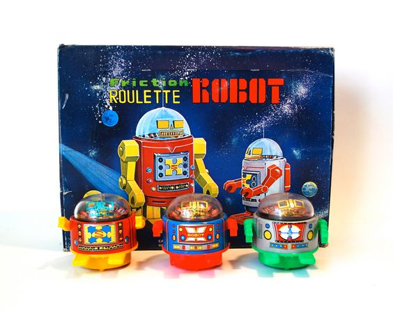 Friction Roulette Robot made in Japan. $15.00, via Etsy.