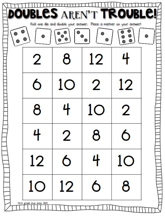 double trouble Math Games Pinterest Doubles facts, Math and - double first
