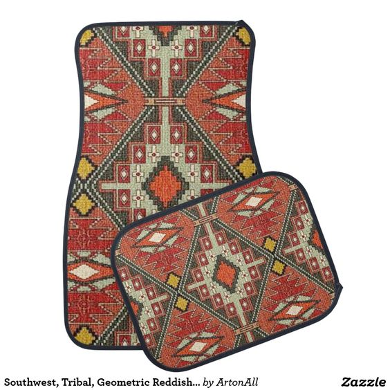 Southwest, Tribal, Geometric Reddish/Orange Car Floor Mat