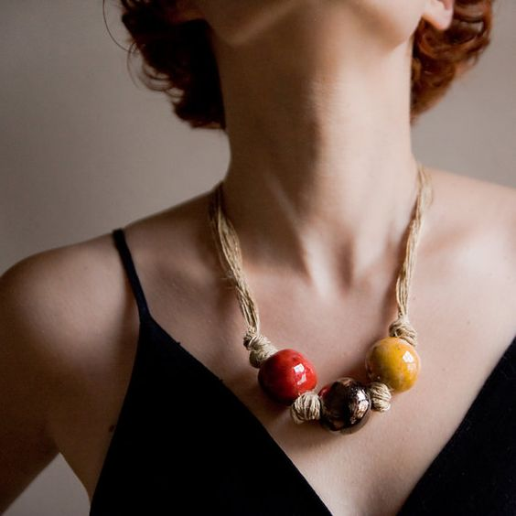 Ceramic Necklace, bold, casual and dramatic art neck piece by karoArt $58.79