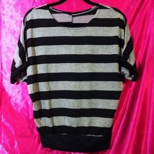 Wide Stripes Butterfly Sweater (Black and Grey stripes)