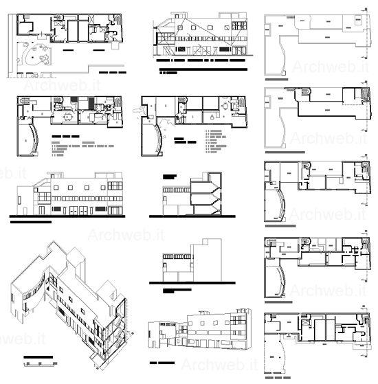 Corbusier maison roche jeanneret dwg archi pinterest for Villa plan dwg