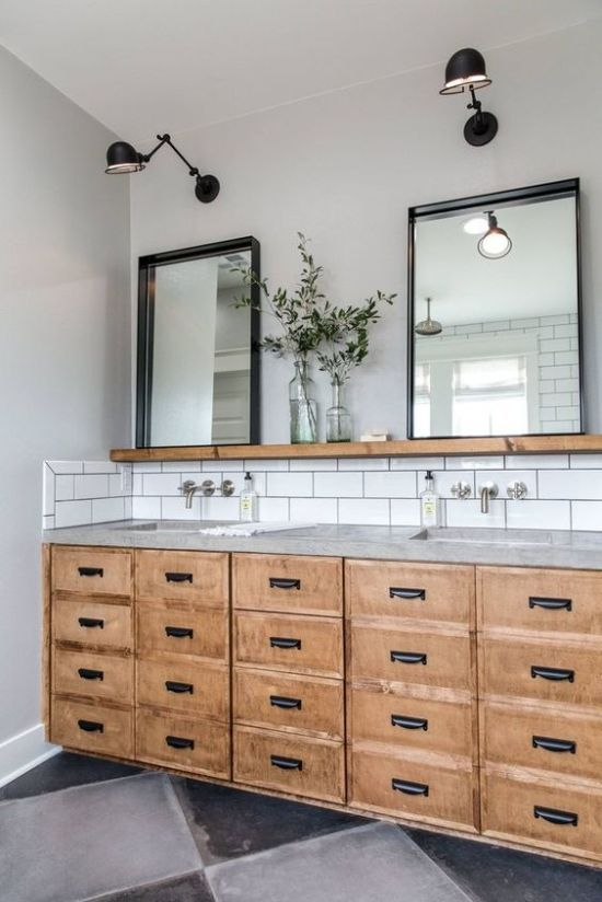 A Bathroom Decorated With Small And Elegant White Subway Tile Backsplash It Is Cool Ideas To Save Your Walls From Water Splashes Di 2020 Industri