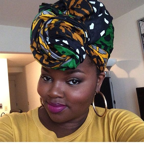 Beauty and hair blogger @charyjay wearing our Etched head wrap.: