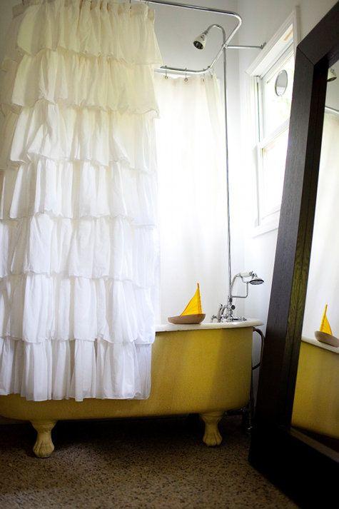 I love Yellow Bathrooms: Clawfoot Bathtub, Clawfoot Tubs, Ruffle Shower Curtain, Bathroom Idea, Yellow Tub, Ruffled Shower Curtain, Ruffle Curtains, Ruffled Curtain
