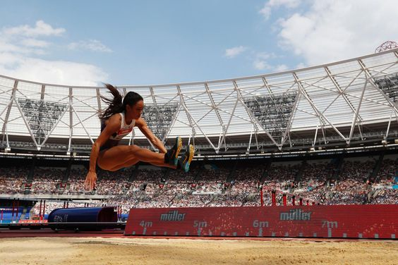 Katarina Johnson-Thompson edges out Team GB team-mate Jessica Ennis-Hill to wins the women's long jump at the London…