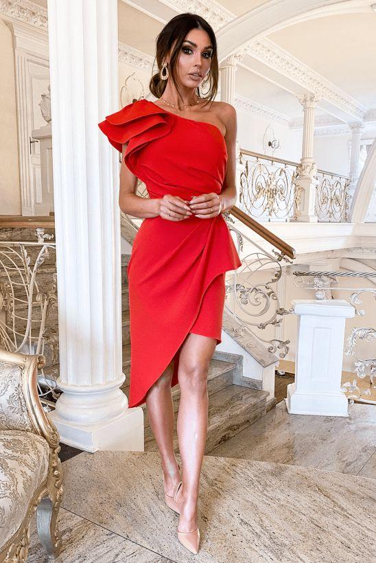 Lori Czerwona Sukienka Na Wesele Z Falbanami Dresses Fashion Shoulder Dress