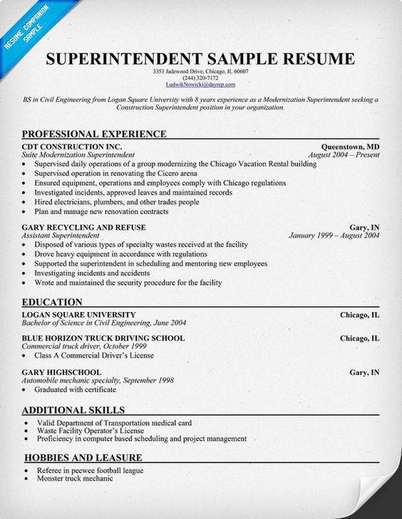 Superintendent Resume (resumecompanion) #police Resume - construction superintendent job description