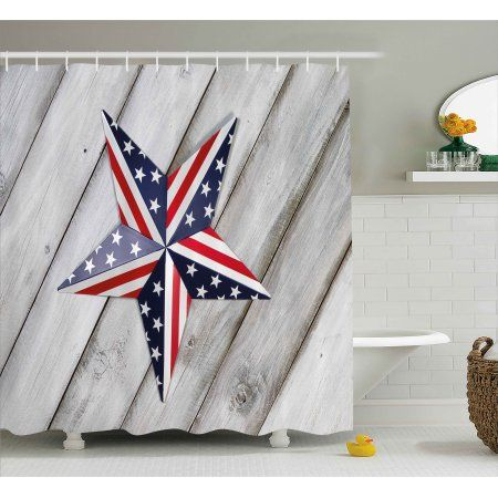 4th Of July Decor Shower Curtain Independence Day Banner With
