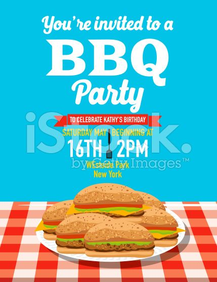 Summer BBQ Party Invitation Template royalty-free stock vector art - bbq invitation template