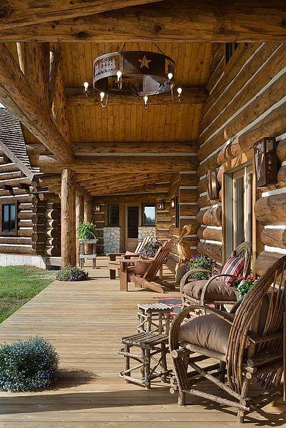 Montana log homes the handcrafted alternative porches for Log home porches