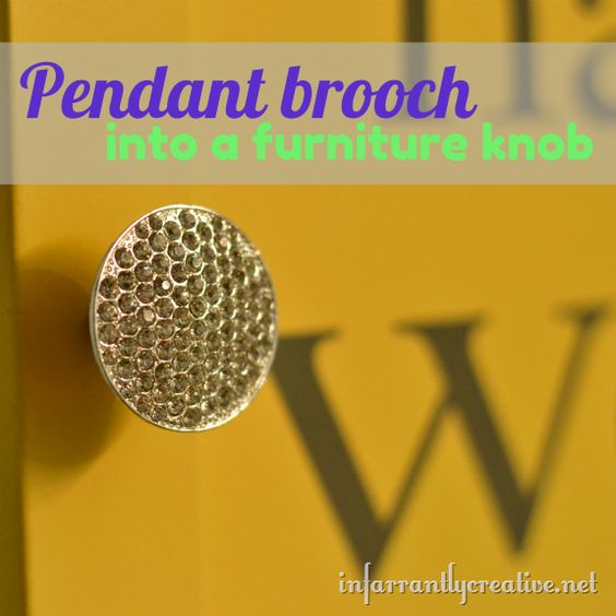 DIY Crafts | Upcycle an old pendant or brooch into a furniture knob