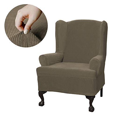 Maytex Collin Stretch 1 Piece Slipcover Wing Chair Moss
