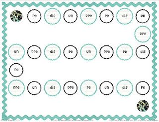 FREE prefixes game for centers.