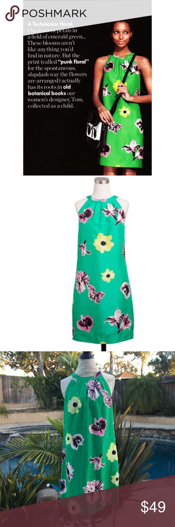 "J.Crew ""Punk Floral"" silk dress Bright green floral dress. Gorgeous colors and very flattering fit!  Euc J. Crew Dresses"