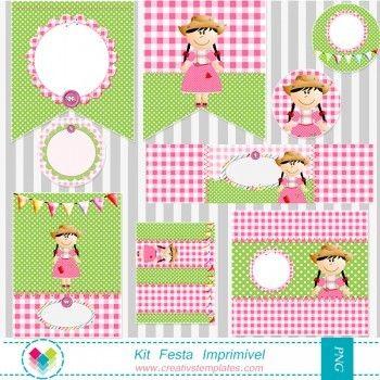 Kit Festa Imprimir - Festa Junina Menina mod:735
