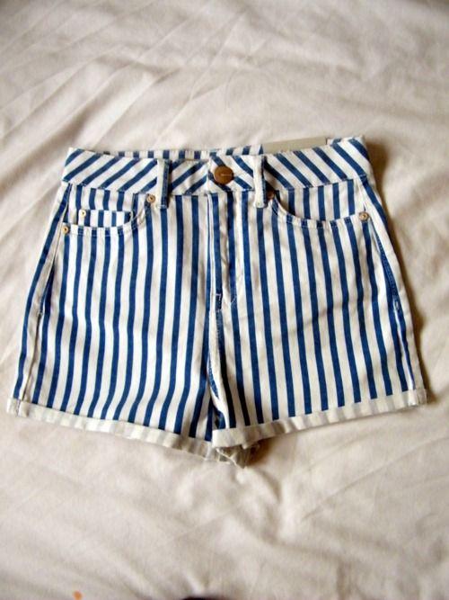 stripes stripes stripes: Denim Short, Stripey Shorts, Dream Closet, High Waisted Shorts, Spring Summer, Stripe Shorts, Nautical Shorts, Striped Shorts, Sailor Shorts