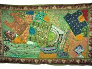 Green Sari Tapestry Indian Patchwork Wall Throw $104.99