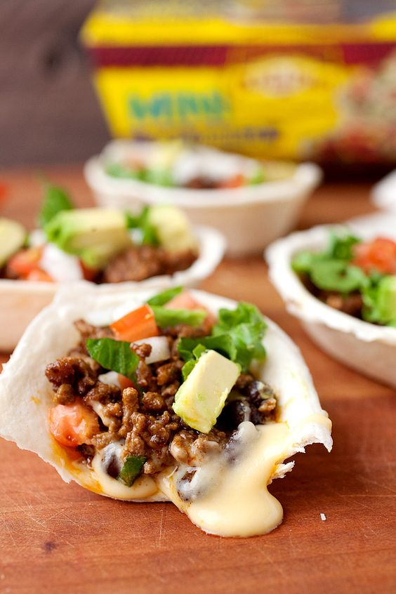 Molten Taco Boats: Mini taco boats with a hidden layer of homemade queso. Topped…