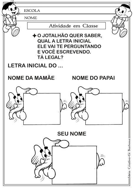 Ideia Criativa - Gi Barbosa Educação Infantil: Atividade Família / Identidade e Autonomia Letra I...