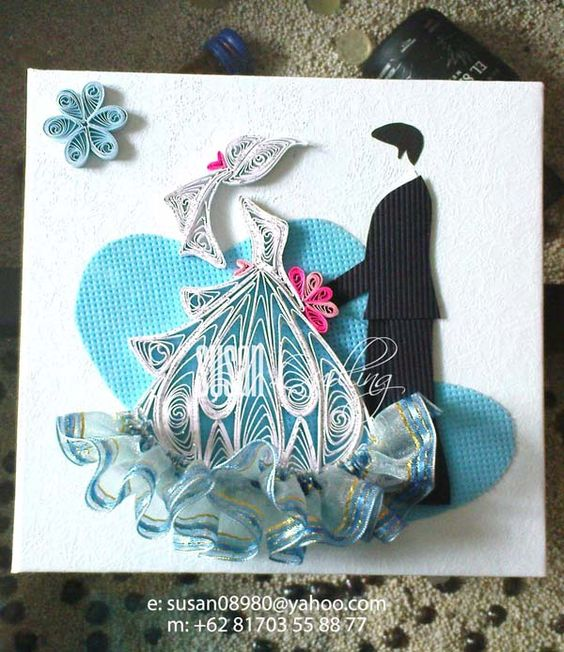 Quilled Wedding Card: