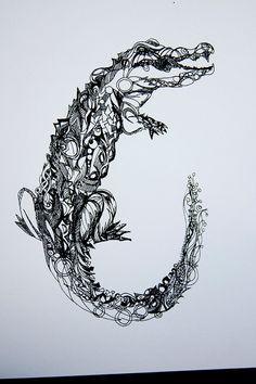 cf88a3305fe72 Crocodile tribal tattoo - photo#24