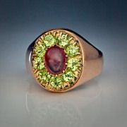Antique Peridot Cluster Ring