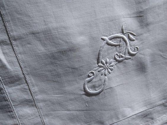White Pillow Case Large Monogram Lace Trim Antique French Linen Pillow Cover Handmade Richelieu Lace Cut Work #sophieladydeparis