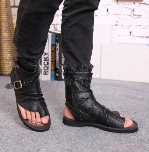 Mens Summer Roma Gladiator Real Leather Flat Sandals Buckles Punk Combat Shoes