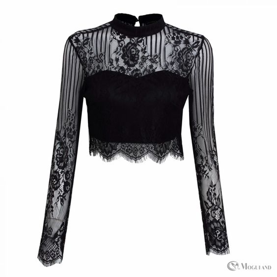 Ladies black high neck lace long sleeve crop top wholesale - clothing/tops/blouses  | Moguland.com - Wholesale Women's Clothing