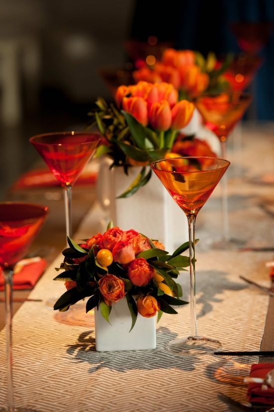 Tangerine flowers and stemware....: Table Settings, Orange Wedding, Orange Centerpiece, Wedding Ideas, Tangerine Centerpiece, Table Arrangement, Tablescape, Fall Wedding