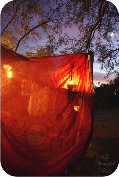Red Tent under the night sky