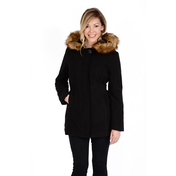 Excelled Women's Faux Asymmetrical Zip with Belt Coat