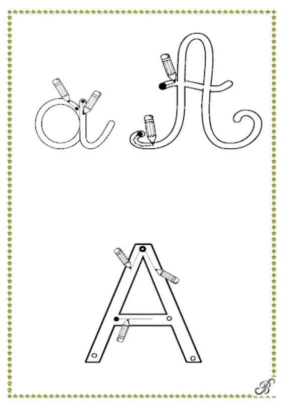 """alphabet gratuit pour apprendre à écrire. à imprimer en petit format et à plastifier pour faire des """"flashcards"""""""