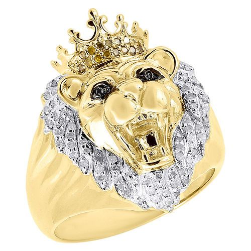 10k Yellow Gold Canary Round Diamond Lion Head King Crown Pinky Ring 0 35 Ct Pinky Ring Fine Jewellery Earrings Fine Gold Jewelry