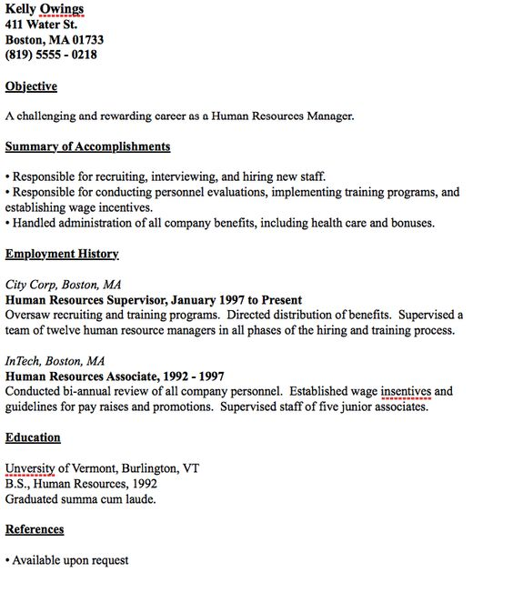 Example of Human Resources Manager Resume -    resumesdesign - human resource recruiters resume