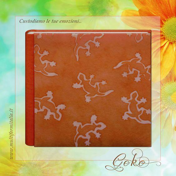 Batik Geko <3 Coloratissimo album 30x30cm in Cuoio Rigenerato arancio e Carta Batik con 40 interni avorio con veline ..in cui raccogliere i momenti di un'estate indimenticabile. #batikcollection