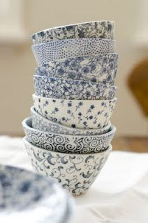 ceramic: Patterned Bowls, White Bowls, Eucalypt Homeware, Blue Bowls, Blue White, Blue Porcelain, Teacup, Blue And White