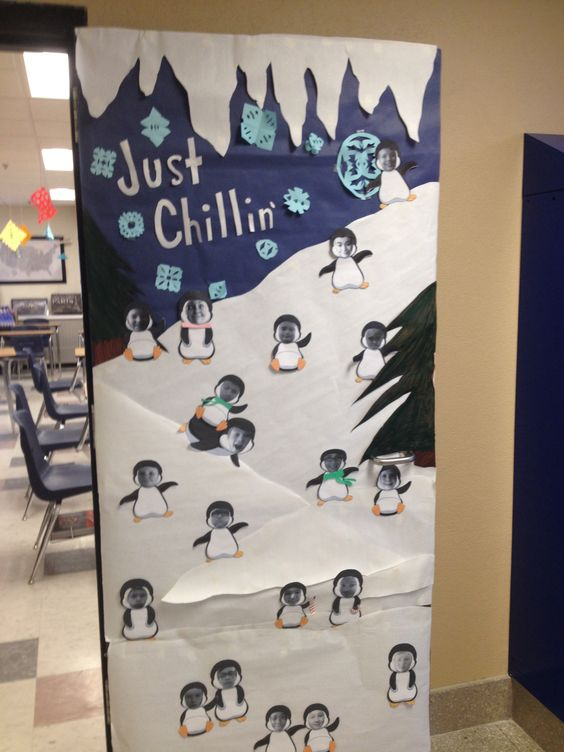Classroom Door Decoration Ideas For January : Winter classroom door decorations have each kid take a