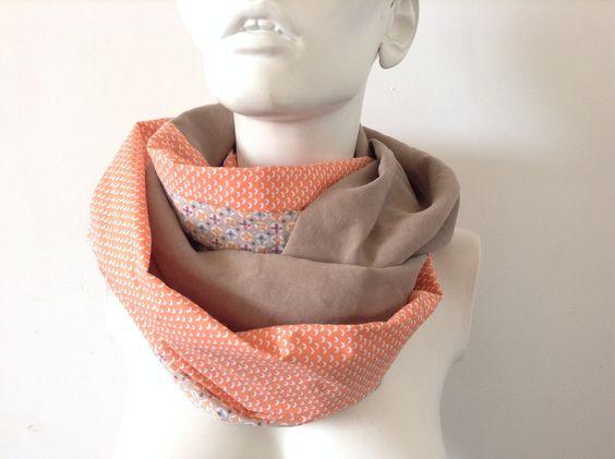 Snood foulard écharpe double mixte tissus beige, vintage orange et beige : Echarpes par peint-d-epices