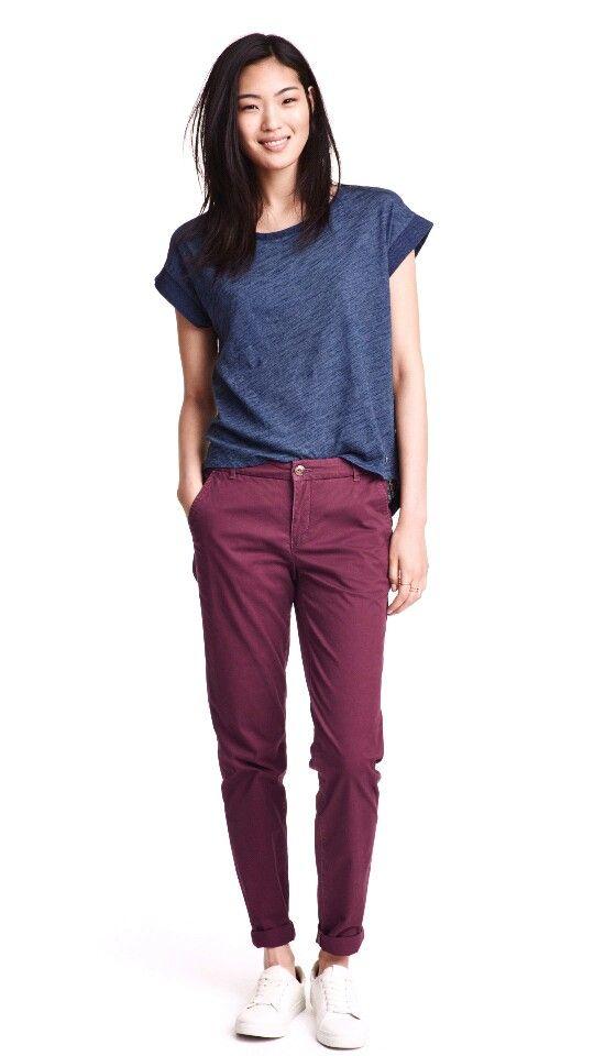 burgundy chino pants - H&M