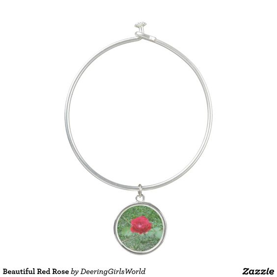 Beautiful Red Rose Bangle Bracelet