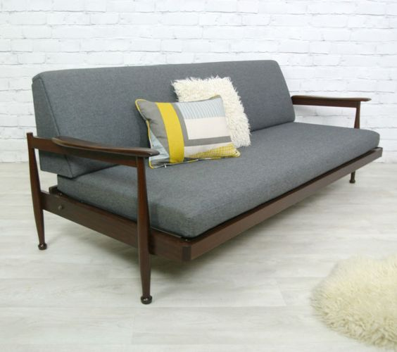 GUY ROGERS VINTAGE RETRO TEAK MID CENTURY SOFA SOFABED EAMES ERA 1950s 60s  | Love That Pillow! | Living Room | Pinterest | Mid Century Sofa, Teak And  Mid ...