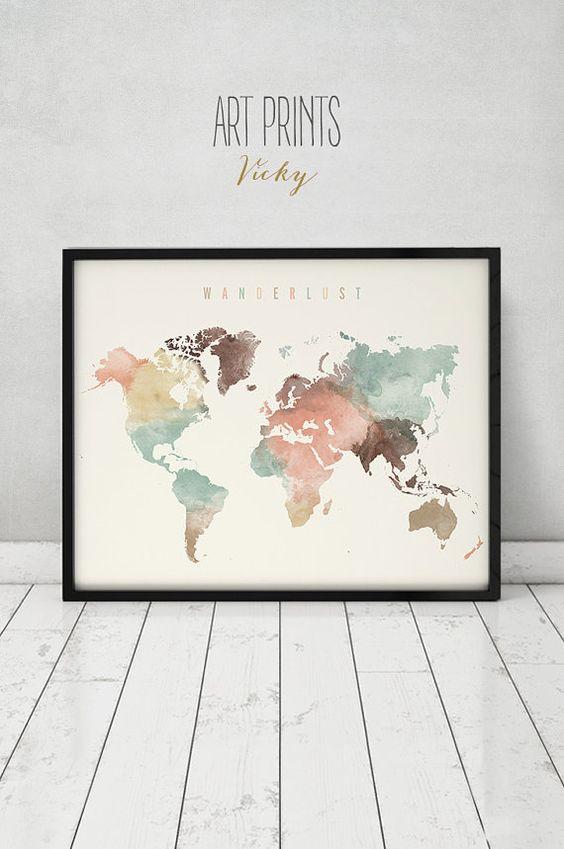 Wanderlust, mundo mapa acuarela grabado, cartel de mapa del mundo, viajes mapa acuarela, arte de la tipografía, acuarela digital impresión, ArtPrintsVicky